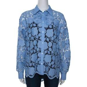 N21 Blue Floral Guipure Lace Oversized Shirt S