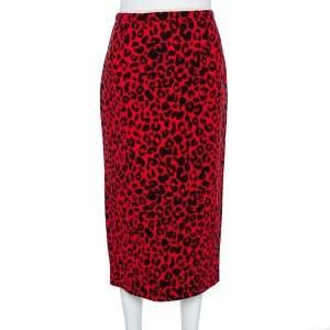 N21 Red Silk Blend Animal Print Midi Skirt S