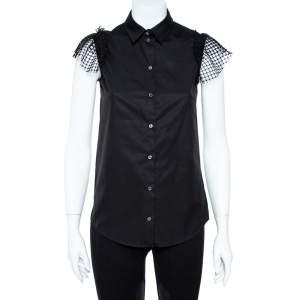 قميص إن21 قصات دانتيل شبكة و حافة ريش قطن أسود مقاس صغير جداً (اكس سمول)