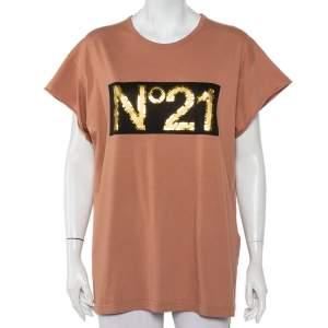 Nº21 Pink Cotton Metallic Logo Printed T-Shirt L