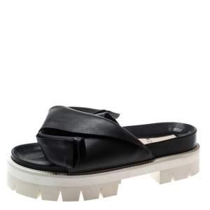 N21 Black Leather Bow Platform Slides Size 39