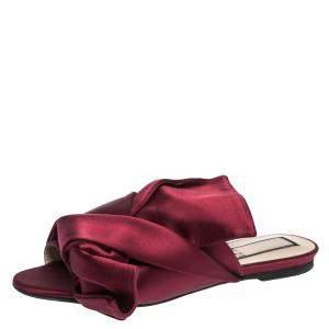 N21 Burgundy Satin Knot Flat Mules Size 37.5
