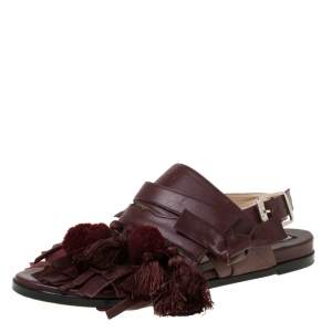 N21 Maroon Leather Pompom and Tassel Slingback Flats Size 37.5