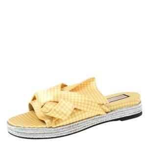 N21 Yellow Checkered Satin Knot Espadrille Flat Slides Size 38