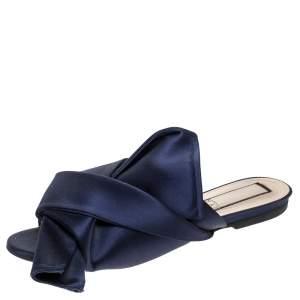 N21 Blue Satin Knot Embellished Mules Size 37