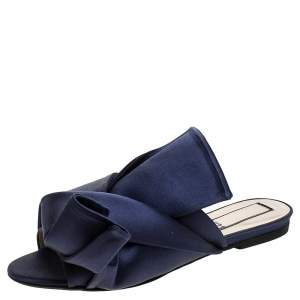 N21 Blue Satin Knot Flat Mules Size 37