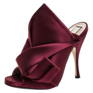 N°21 Burgundy Satin Ronny Pleated Mules Size 37
