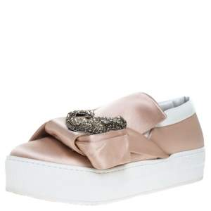 N21 Beige Satin Crystal Embellished Bow Skate Cat Slip on Sneakers Size 37