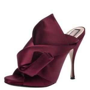 N21 Burgundy Satin Raso Knot Peep Toe Mules Size 40