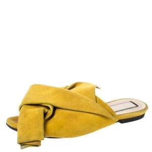 N21 Mustard Yellow Suede Knot Flat Mules Size 36