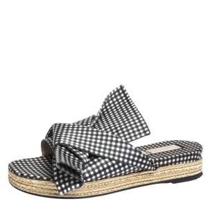 N21 Black White/Black Check Satin Open Toe Flat Slides Size 38.5