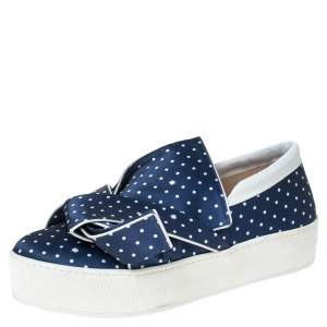 N21 Blue Polka Dot Satin Knotted Slip On Sneakers Size 38.5
