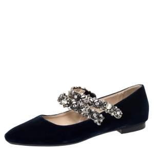 N°21 Blue Velvet Embellished Strappy Ballet Flats Size 39