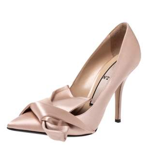 N21 Beige Satin Knot Pointed Toe Pumps Size 39