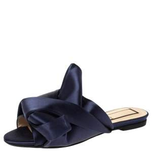 N°21 Blue Satin Knot Flat Mules Size 36