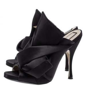 N21 Black Satin Raso Knot Peep Toe Mules Size 39
