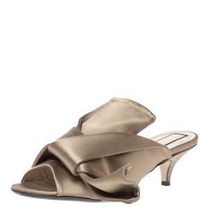 N21 Brown Satin Raso Knot Peep Toe Mules Size 36