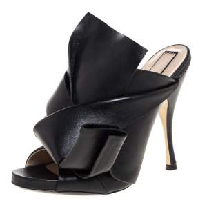N°21 Black Leather Ronny Pleated Mules Size 38