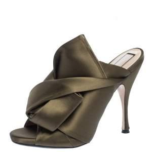 N21 Green Satin Raso Knot Peep Toe Mules Size 38