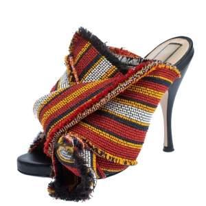 N21 Multicolor Fabric Raso Knot Peep Toe Mules Size 36