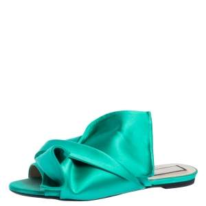 N°21 Green Satin Knot Flat Mules Size 41