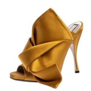 N21 Yellow Satin Raso Knot Peep Toe Mules Size 39