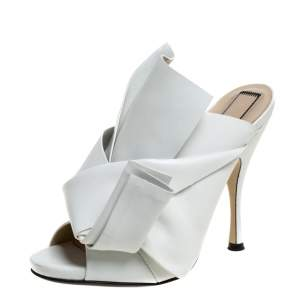 N°21 White Leather Ronny Pleated Mules Size 38