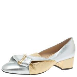 N21 Gold/Silver Foil Leather Knotted Round Toe Pumps Size 37.5