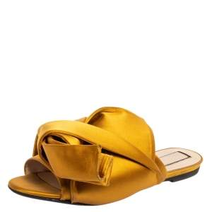 N°21 Yellow Satin Knot Flat Mules Size 39