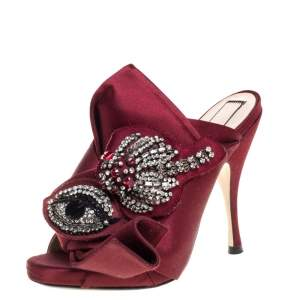 N21 Maroon Embellished Satin Knot Mules Sandals Size 36