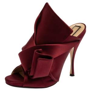 N21 Burgundy Satin Knot Open Toe Sandals Size 39