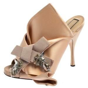 N°21 Beige Satin Embellished Knot Mule Sandals Size 39.5