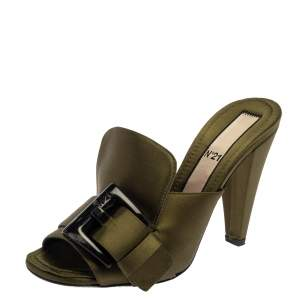 N21 Green Satin  Slip On Mule Sandals Size 37.5