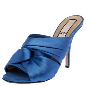 N21 Blue Satin Twisted Knot Mule Sandals Size 39