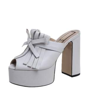 N21 White Leather Fringed Platform Mule Sandals Size 38.5