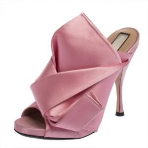 N21 Pink Satin Raso Peep Toe Mules Size 39.5