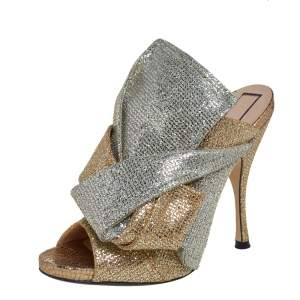 N21 Silver/Gold Glitter Knot Open Toe Slide Sandals Size 39