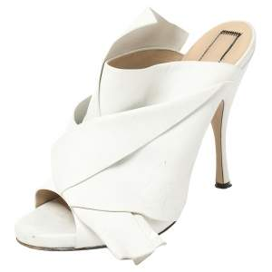 N21 White Leather Ronny Pleated Mules Size 40