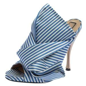N°21 Light Blue/ White Striped Satin Bow Mule Sandals Size 39