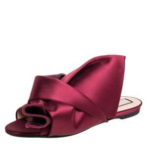 Nº21 Burgundy Satin Knot Flat Slides Size 39