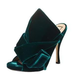 N21 Dark Green Velvet Knot Mules Size 38