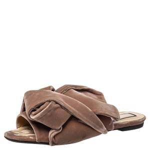 Nº21 Pink Velvet Knot Mule Sandals Size 38.5