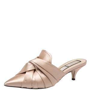 Nº21 Beige Satin Knot Pointed Toe Kitten Heel Mules Size 38