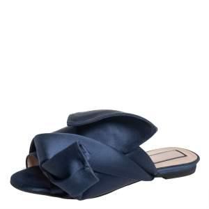 Nº21 Blue Satin Knot Flat Mules Size 36