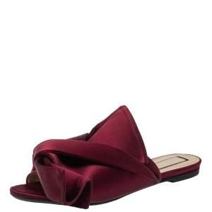 Nº21 Burgundy Satin Raso Knot Flat Slides Size 37.5