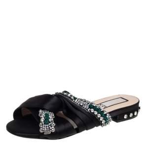 Nº21 Black Satin Crystal Embellished Knotted Flat Slides Size 37