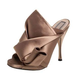 Nº21 Brown Satin Raso Knot Peep Toe Mules Size 38