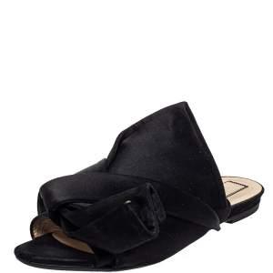 N21 Black Satin Raso Knot Peep Toe Flat Slides Size 39