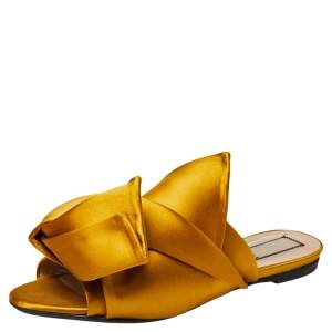 Nº21 Yellow Satin Knot Mule Flats Size 39.5