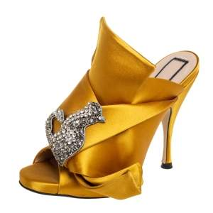 Nº21  Yellow Satin Crystal Embellished Knot Mules Size 36.5